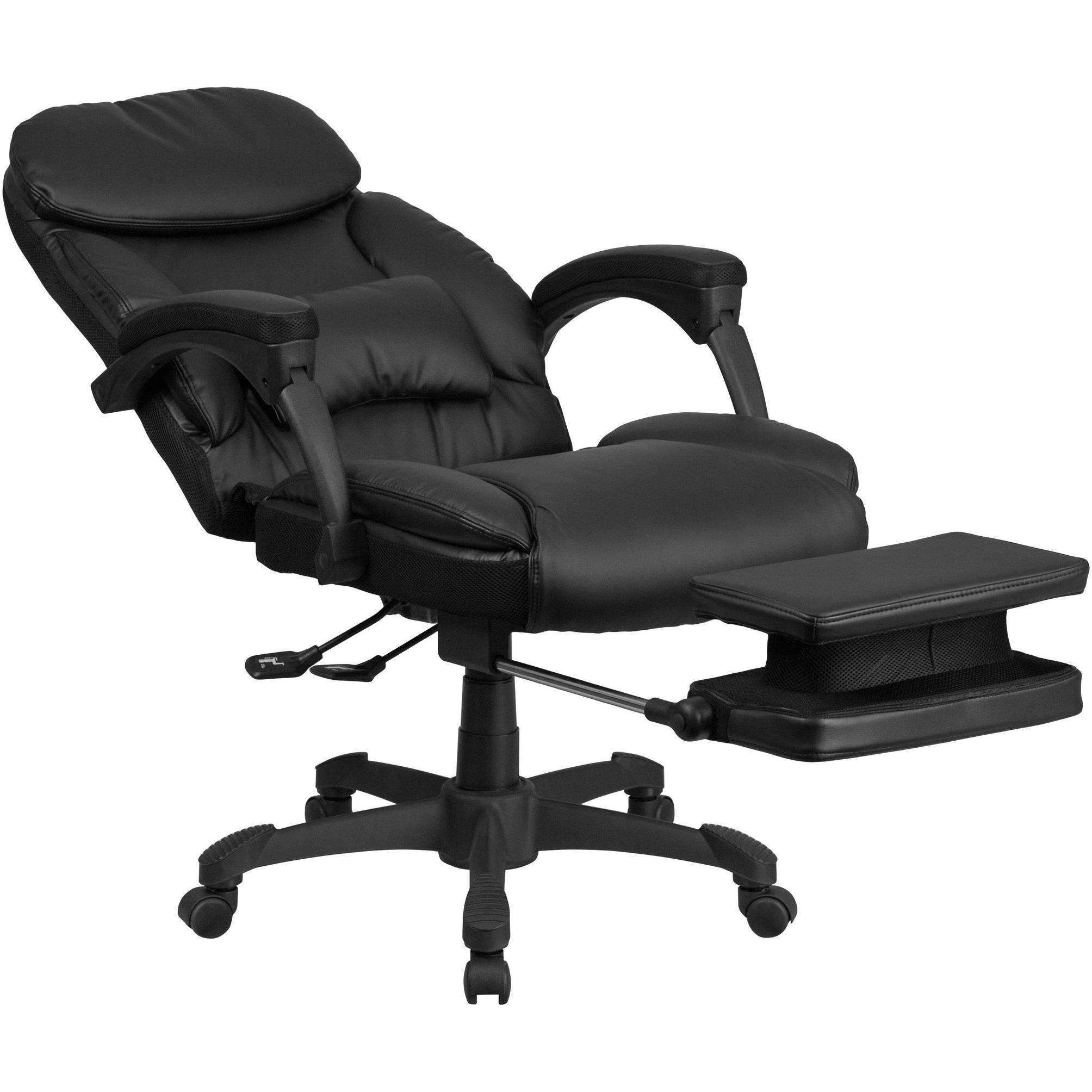 Reclining Leather Executive Swivel Office Chair with