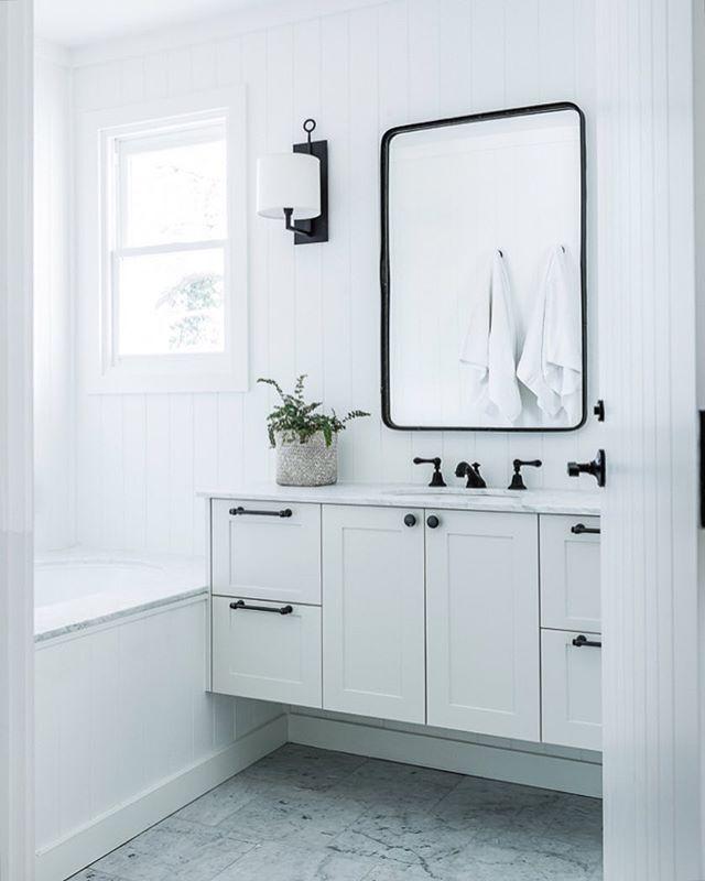 Modern Farmhouse Bathroom: Black, White, And Marble Modern Farmhouse Bathroom