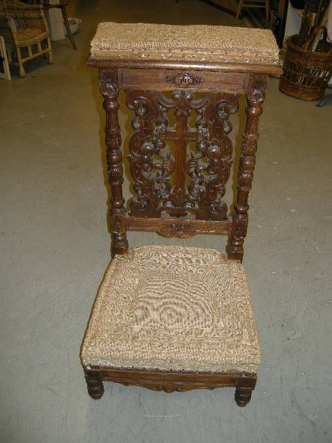 Antique French Carved Prie Dieu Prayer Chair Kneeler $1,750 - Antique French Carved Prie Dieu Prayer Chair Kneeler $1,750 CaSL