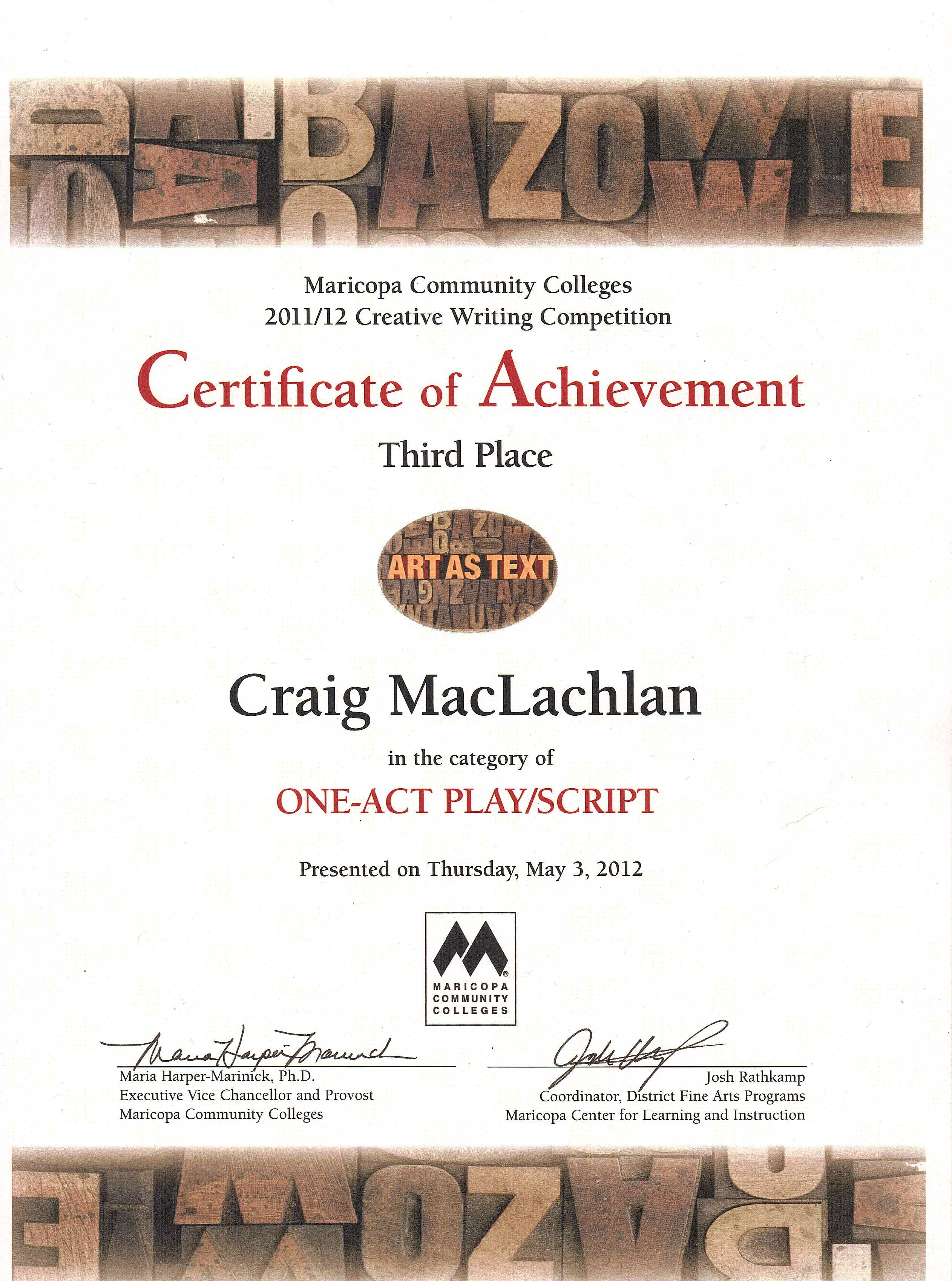 Award for my 3rd place script