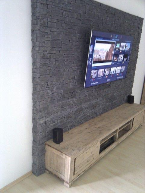 Steinwand mediawand eigenbau tv wand ideen pinterest for Steinwand tv