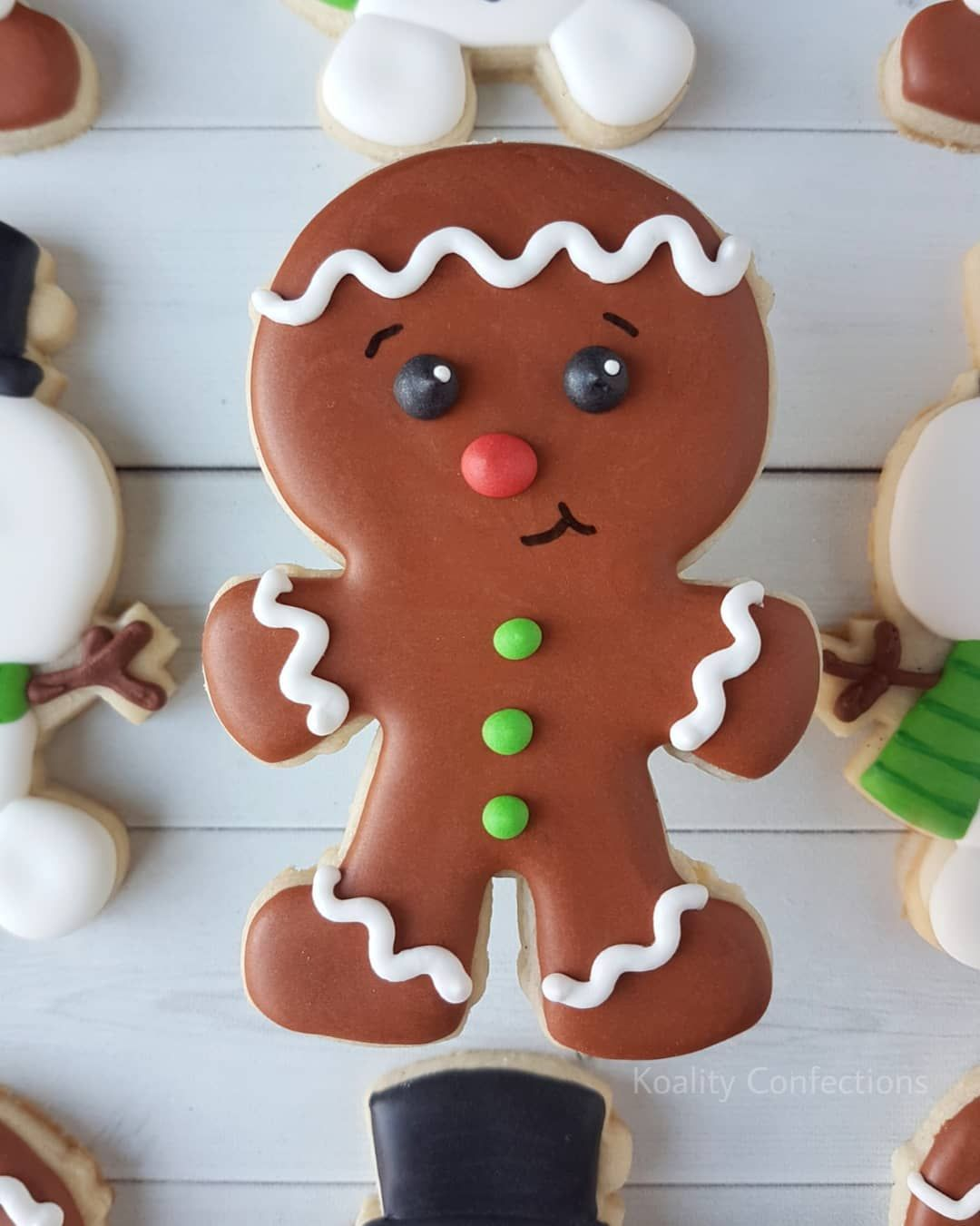 Christmas Gingerbread Man Sugar Cookie Decorated With Royal Icing