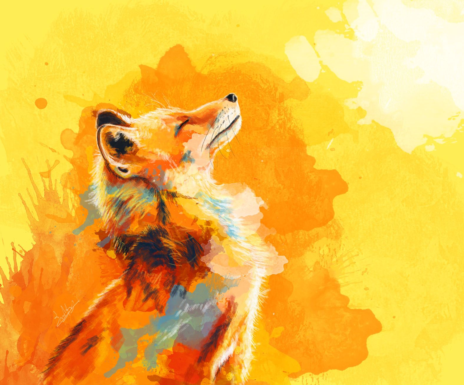 Blissful Light Digital Painting Colorful Painting Of A Fox Smiling In The Morning Light On An Abstract Background Prints And Pr Fox Art Print Art Fox Art