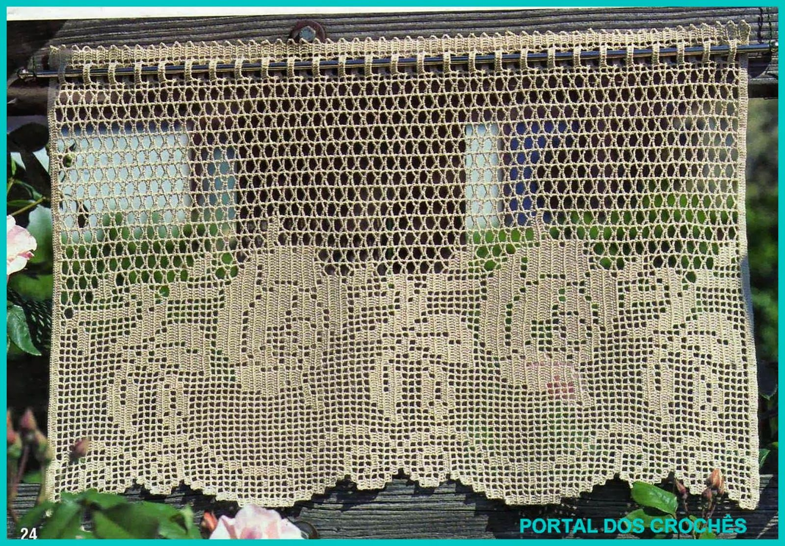 Portal Dos Croch S Cortinas De Croch Com Rosas Croche