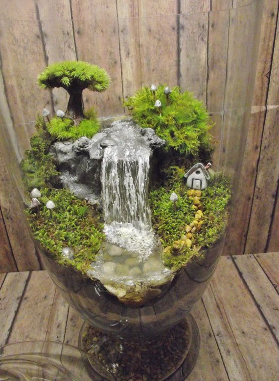 Amazing Huge Waterfall Terrarium With Raku Fired Miniature House Tree And Glow In The Dark Mushrooms Ooak Handmade By Gypsy
