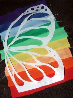 Une façon super intelligente de faire une applique multicolore … – et j'aime le papillon – Écoutez …   – sewing and tutorial