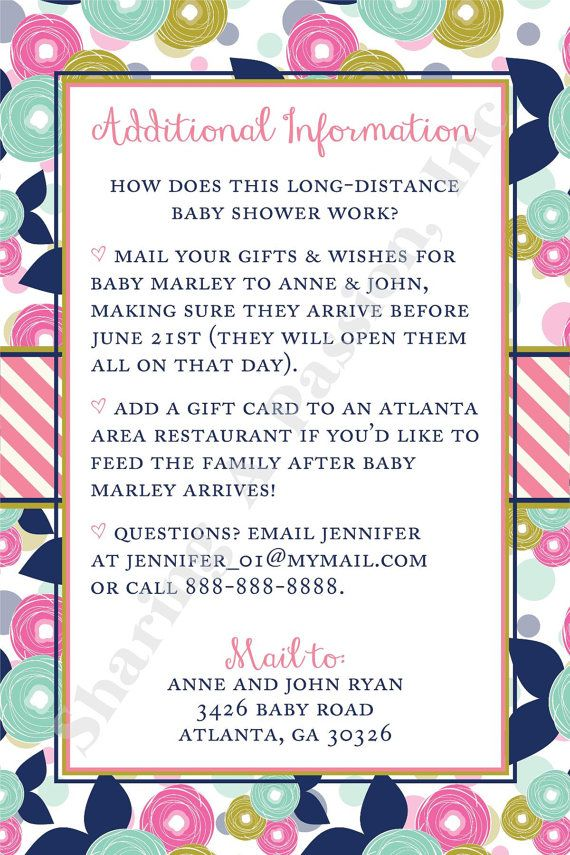 long distance baby shower invitation wishes by sharingapassioninc, Baby shower invitations