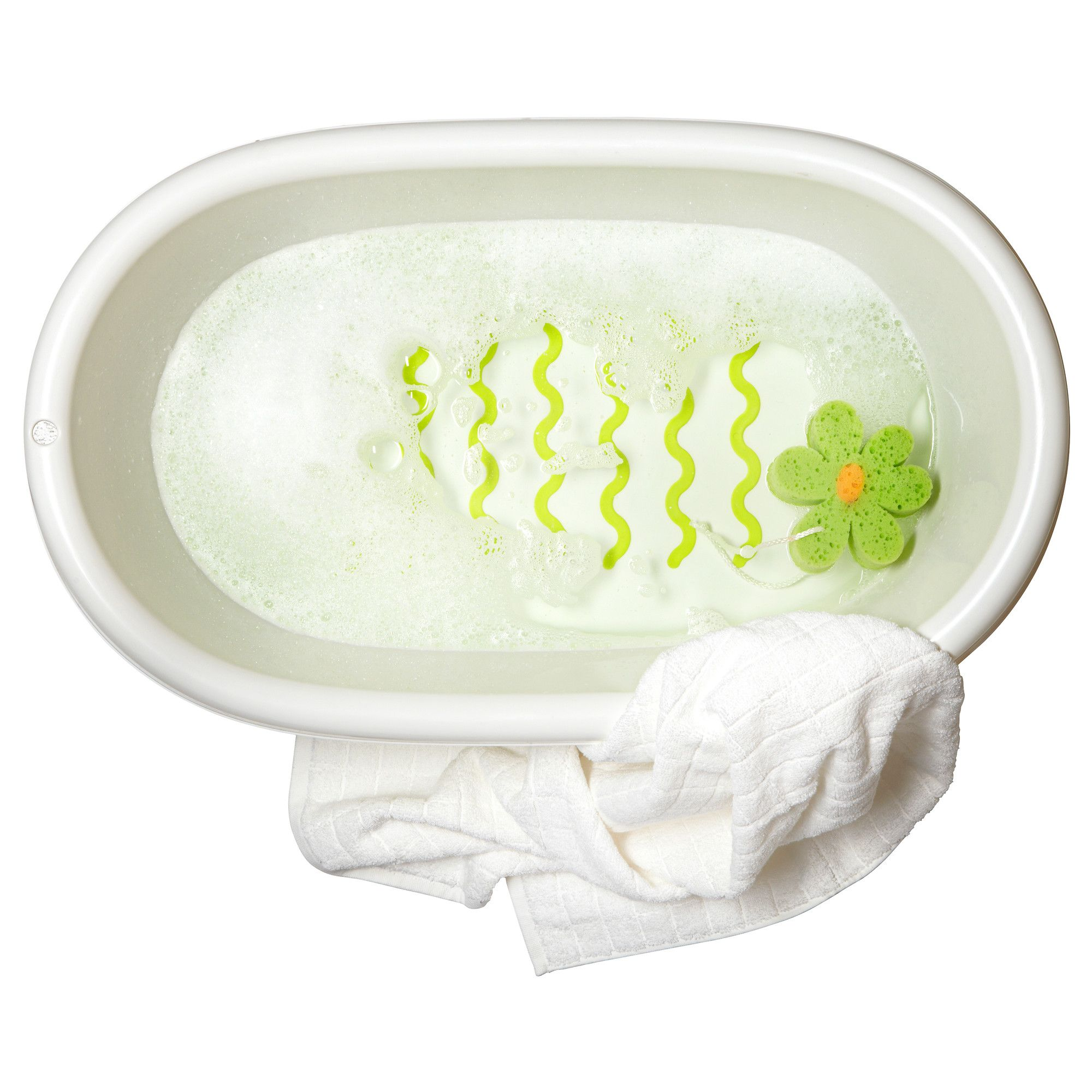 LÄTTSAM Baby bath White/green