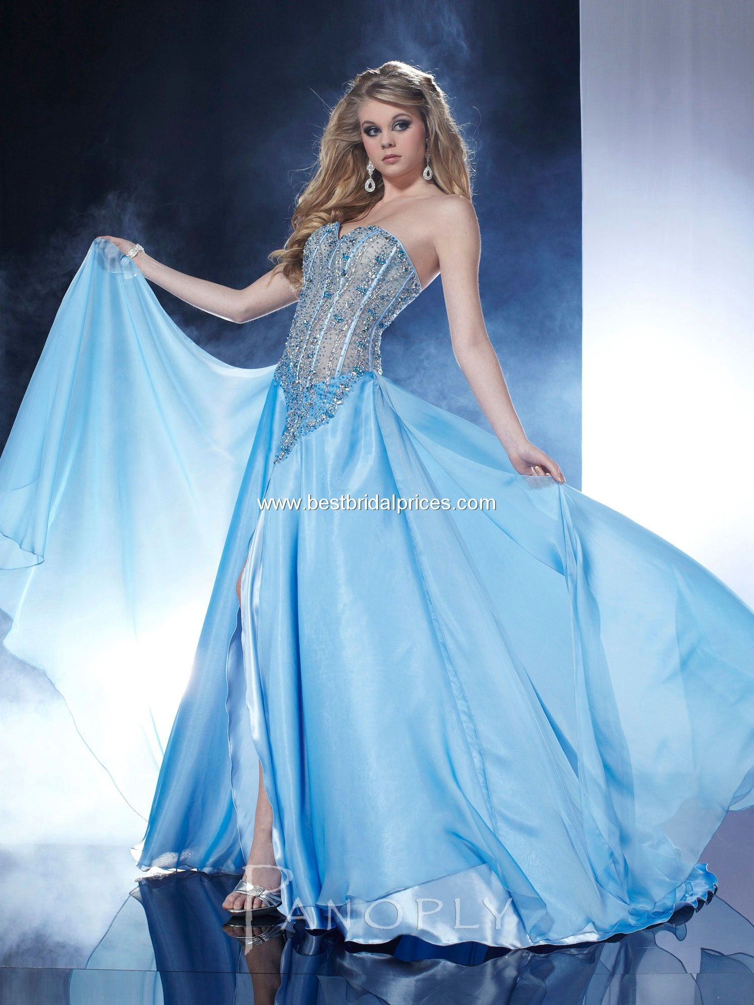 Buy Strapless A-line Chiffon Bodice Arctic Blue Prom/evening ...