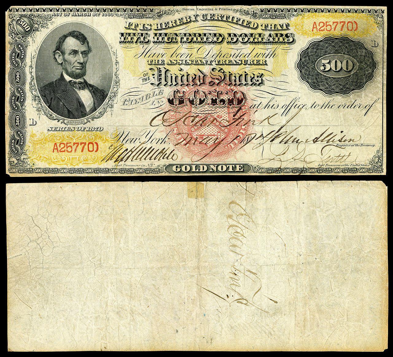 500 gold certificate series 1870 fr 1166i depicting abraham