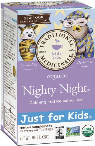 Traditional Medicinals Just for Kids Organic Nighty Night Herbal Tea,18-Count Wrapped Tea Bags (Pack of 6)