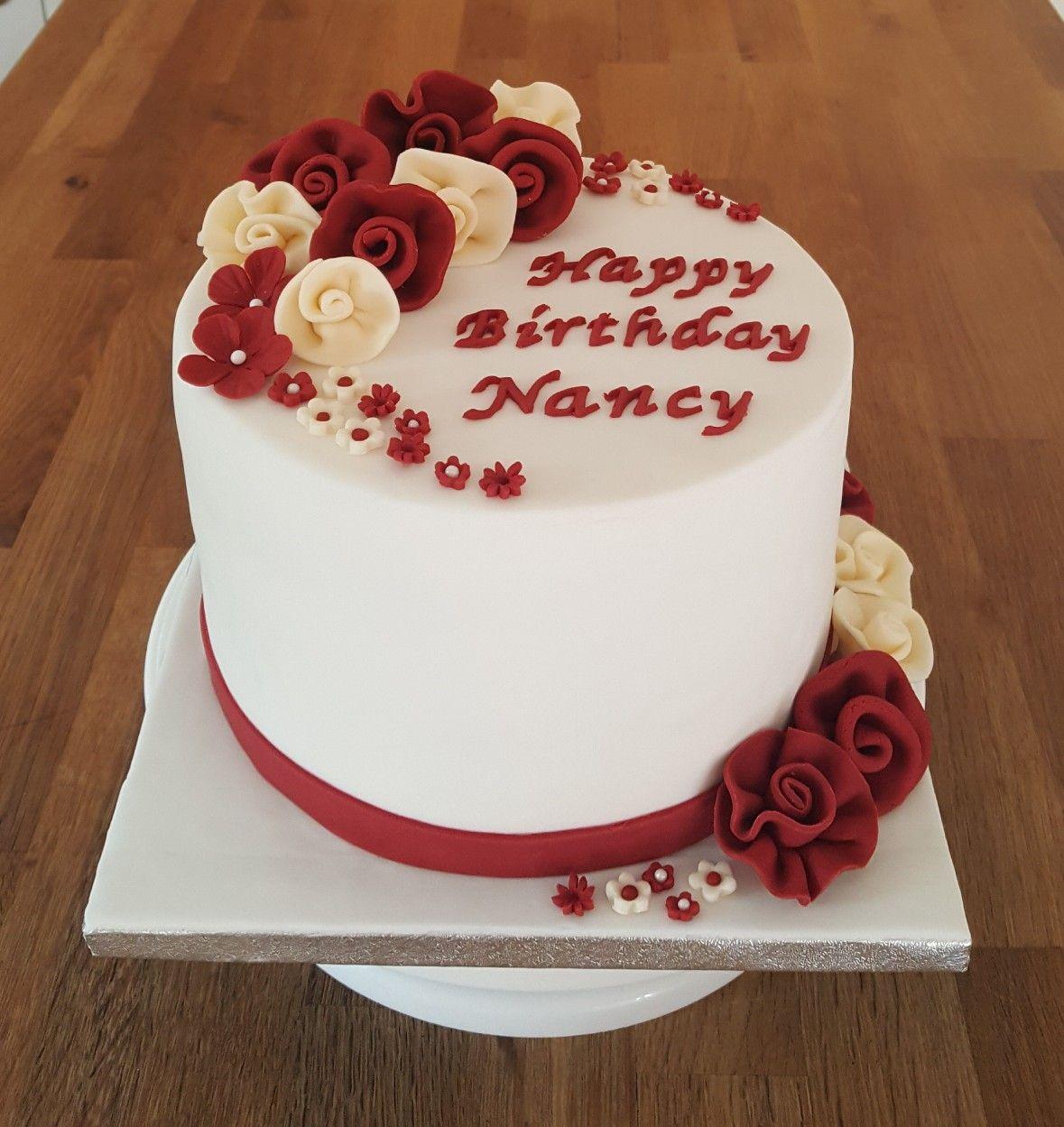 93rd Birthday Cake with ruffled rose flowers   Alwynne\'s Homemade ...