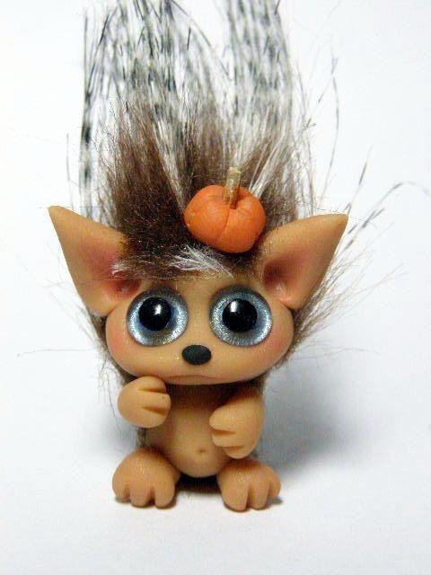 OOAK Tiny Hedgehog Trollfling Troll girl Darlene by от Trollflings