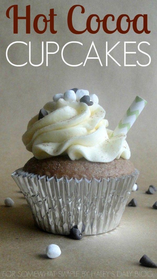 Hot Cocoa Cupcakes Vanilla whipped cream Hot chocolate cupcakes
