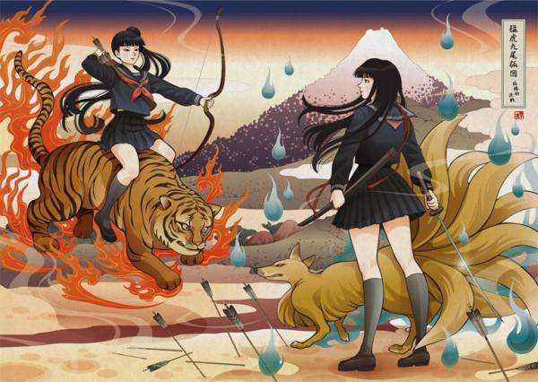 Contemporary Schoolgirl Woodblocks Rin Nadeshico Uses Traditional Japanese Art Style To Draw Anime Gallery Japanese Art Styles Art Parody Illustration