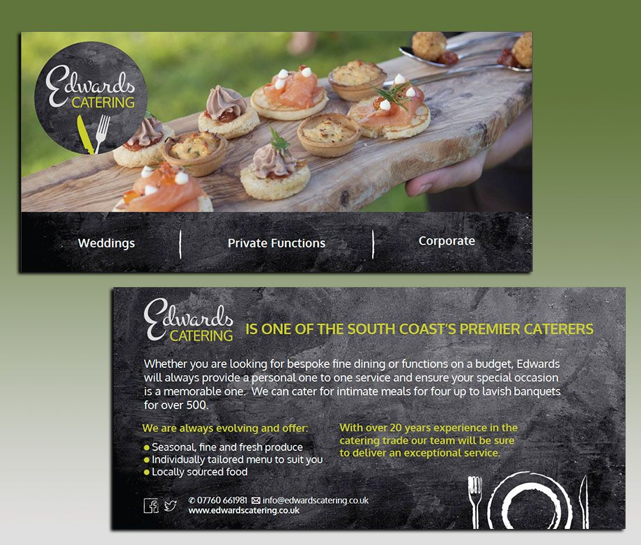 Design Of Flyers For Our Client Edwards Catering  Menu Ideas