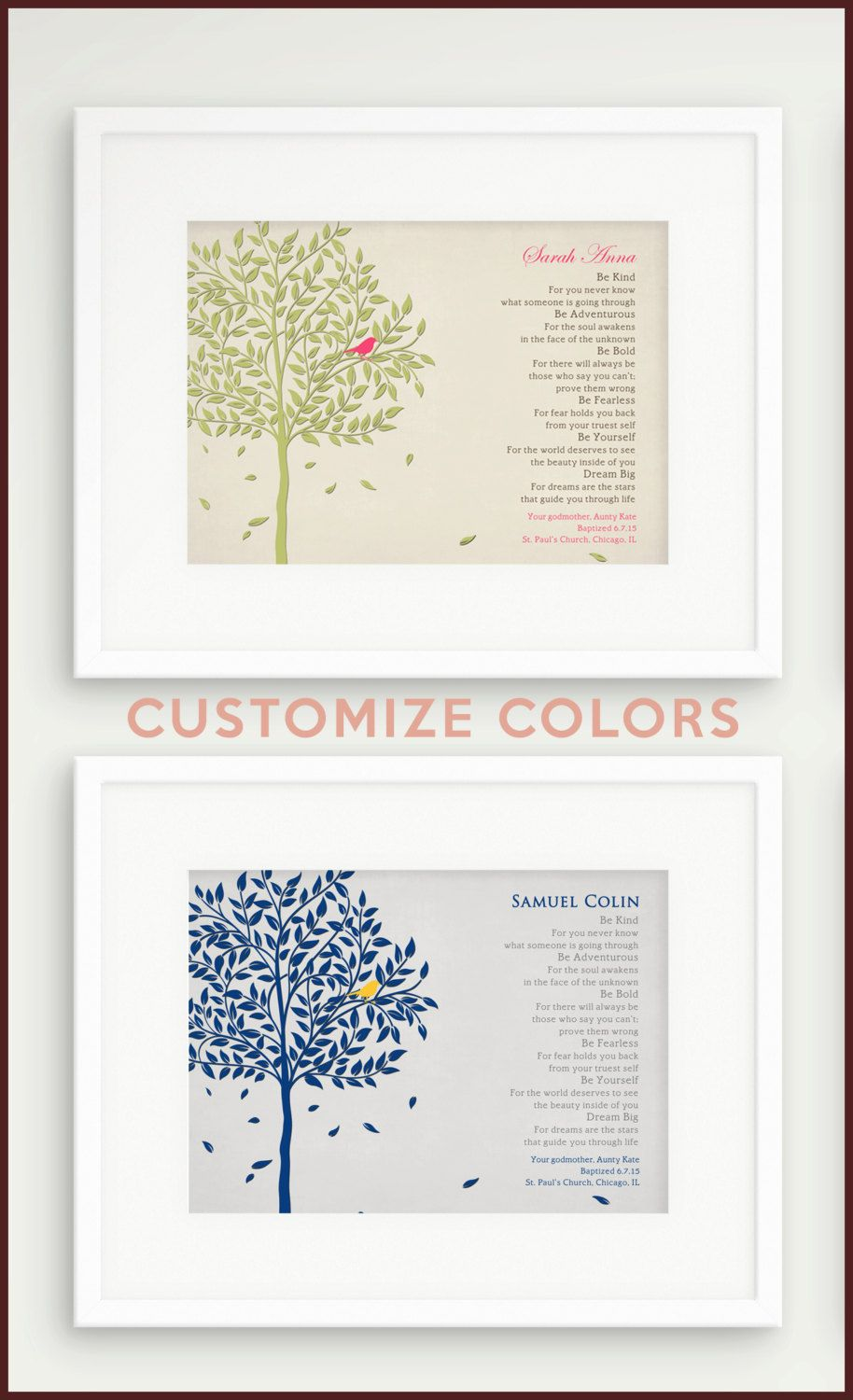 Personalized Baptism Gift From Godparents Christening Gift