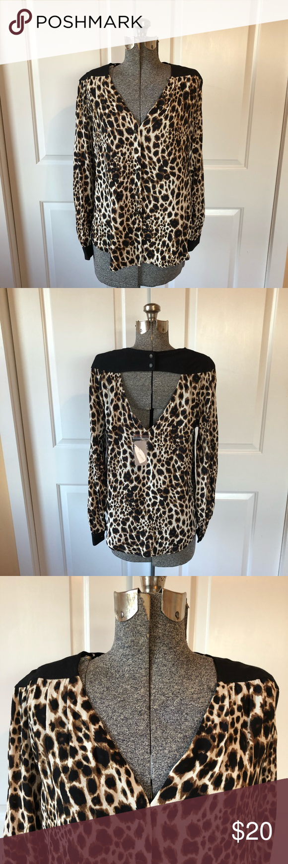 825309a47ec4 NWT LEOPARD PRINT BLOUSE W/CUTOUT BACK New with tags Forever 21 Tops Blouses