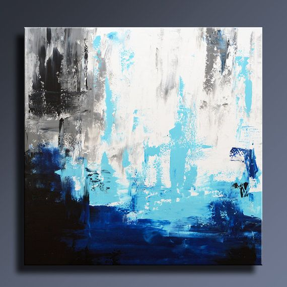 """Sold Original Abstract Painting Pearl White Blue Wall Art: ORIGINAL ABSTRACT PAINTING 36"""" White Gray Blue Black"""