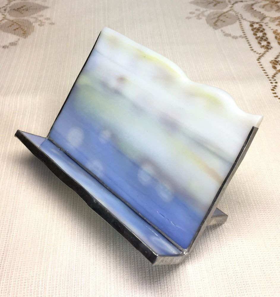 Stained Glass Business Card Holder - White,Blue,Yellow w Silver ...