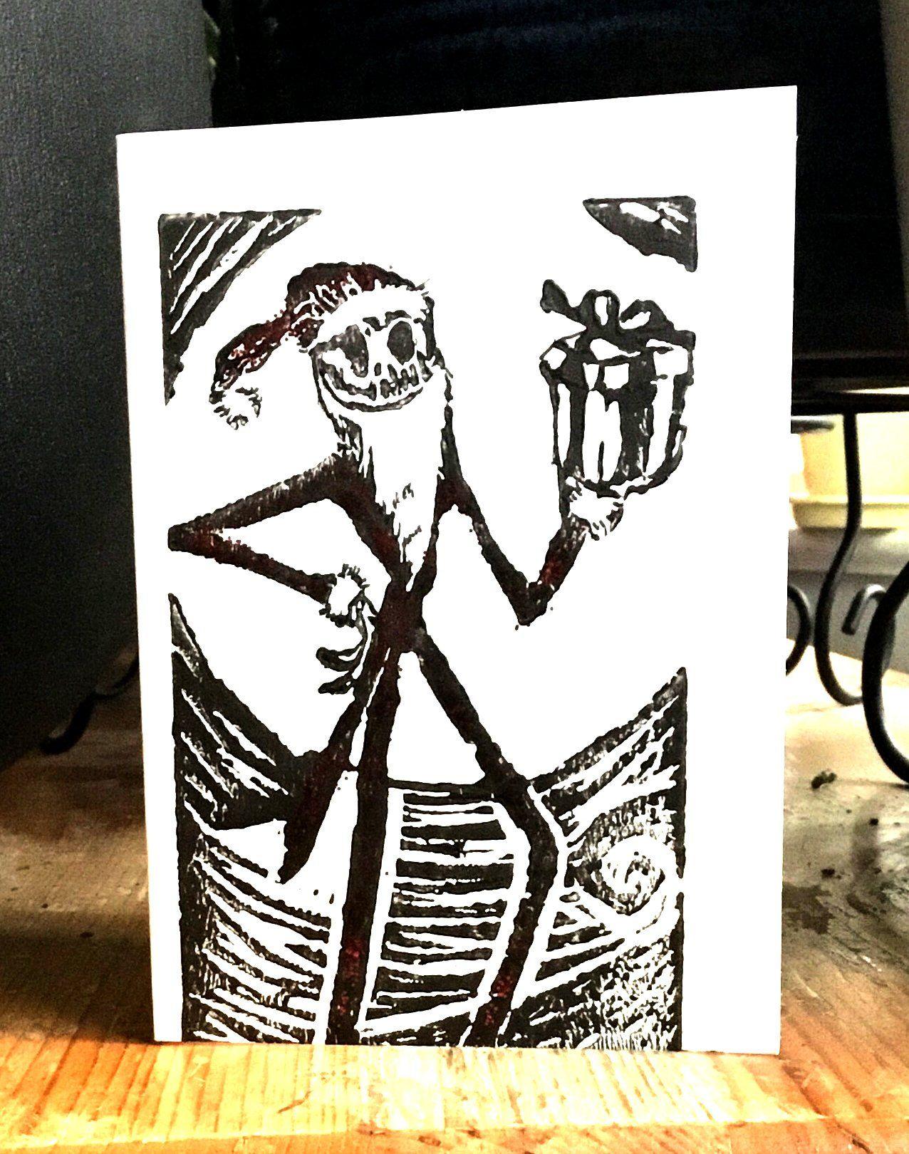 The Nightmare Before Christmas Lino Print Card   Cool Shit ...