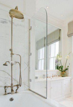 Clean A Bathroom Plans clean, elegant bath. brass hardware. glass screen. | bathroom
