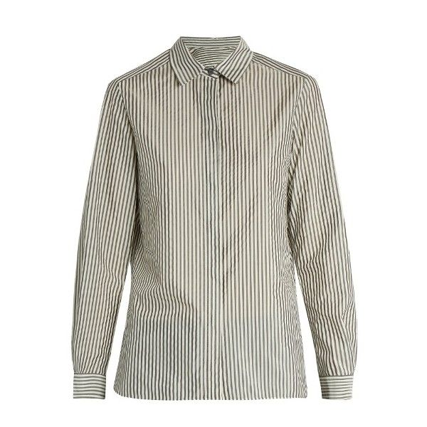 Max Mara Navy shirt (€245) ❤ liked on Polyvore featuring tops, grey white, loose shirt, navy stripe top, navy blue top, shirt tops and stripe top