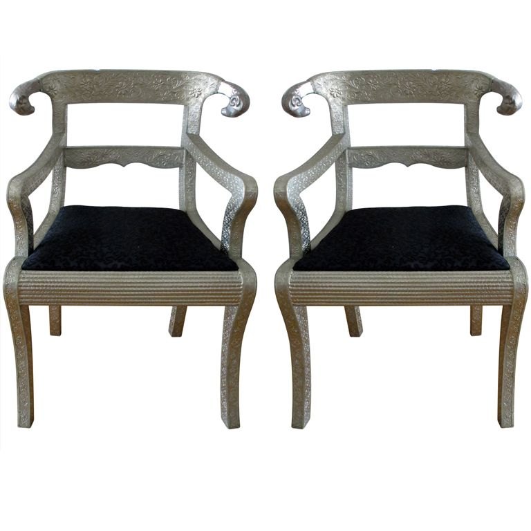Lovely Pair Of Rams Head Anglo Indian Chairs