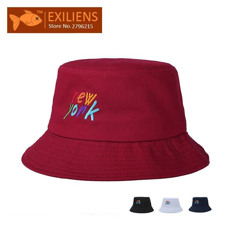 EXILIENS  2017 Fashion Brand Bucket Hats Cotton new york Casual Fisherman  Caps Hip- 8e8908b6d3a