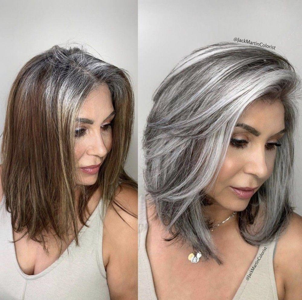 Makeover Wie Jack Martin Kunden Hilft Ihre Grauen Haare Nicht Mehr Zu Farben Lange Graue Haare Graue Blonde Haare Mittellange Haare Frisuren Einfach