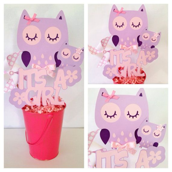 Owl Baby Shower Centerpiece in Pink and Purple by