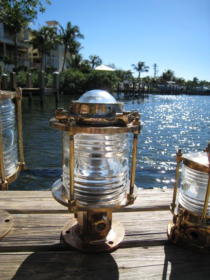 large sized marine quality bronze pedestal dock light also called a
