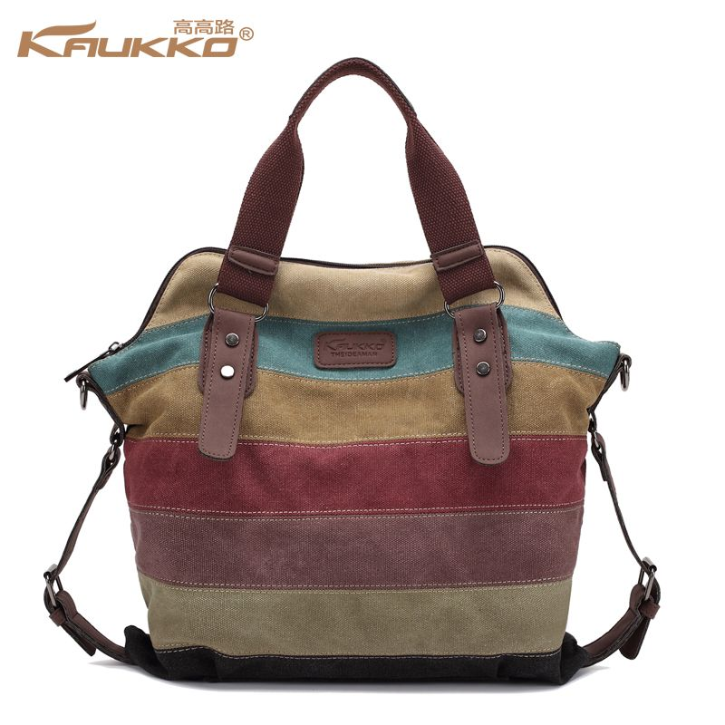 2599f79b84 KAUKKO Casual Canvas Bag Tote Striped Women s Big Handbags Patchwork Shoulder  Bag School Messenger New Fashion Sac A Home Casual