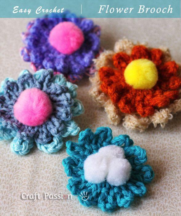 Flower Brooch - Free Crochet Pattern | Broche de flor, Broches y Las ...