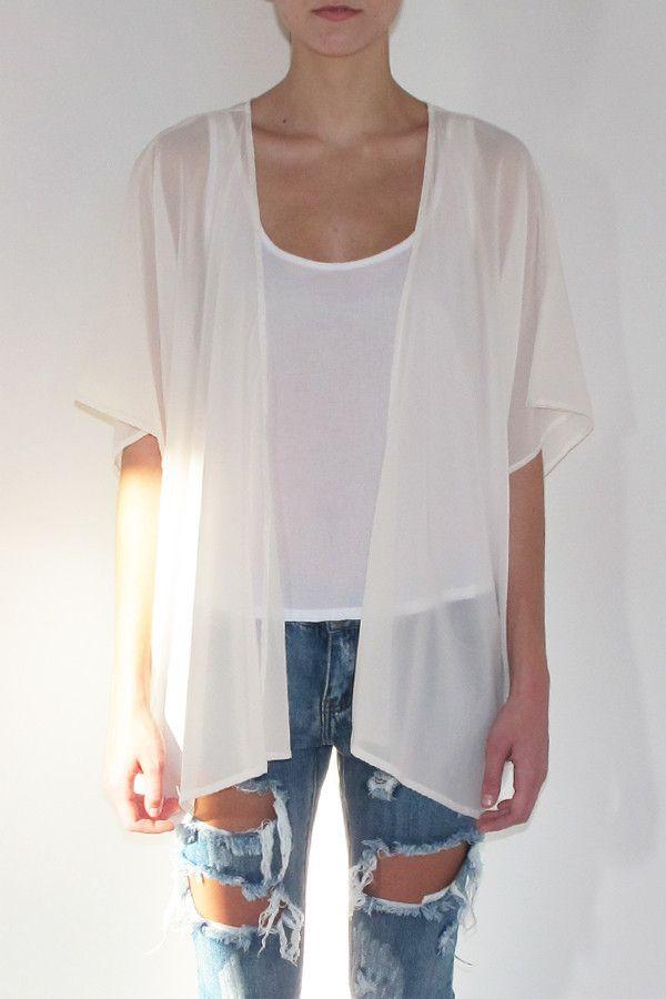 Josephine White Sheer Kimono | Modern Bohemian White Silk Chiffon ...