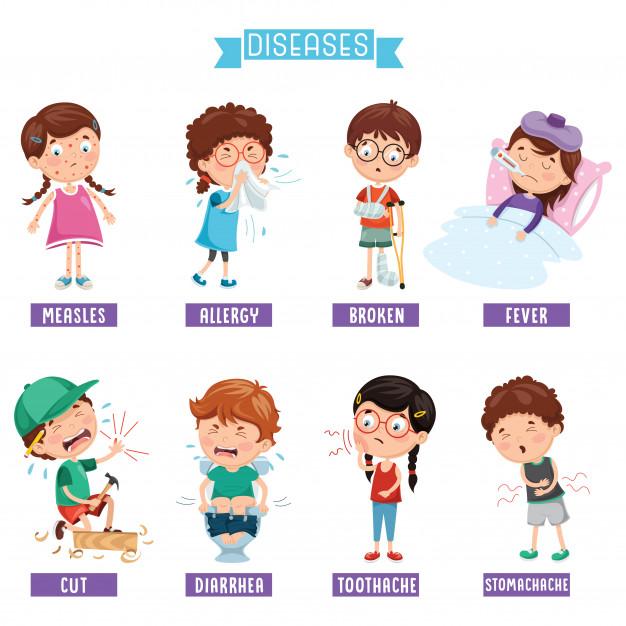 Ilustracion De Enfermedades Infantiles Vector Premium Ilustracion De Los Ninos Actividades Escolares Enfermedades