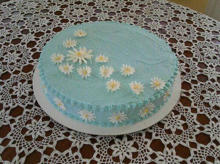 Single Layer Cake With Daisies Easy Cake Decorating Single