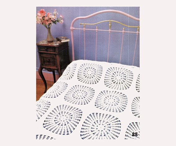 Genuine Vintage Stylish Lacy Sunflower Radiating Kitsch Bedspread Motif Crochet Pattern PDF