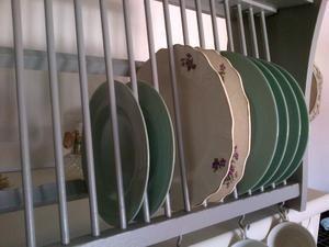 Vintage shabby chic grey F\u0026B painted kitchen pine plate rack storage display dresser shelf cup hooks & Vintage shabby chic grey F\u0026B painted kitchen pine plate rack storage ...