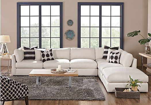 picture of Cindy Crawford Home Crosby Street White 4 Pc Sectional from Living Room Sets Furniture : crosby sectional - Sectionals, Sofas & Couches