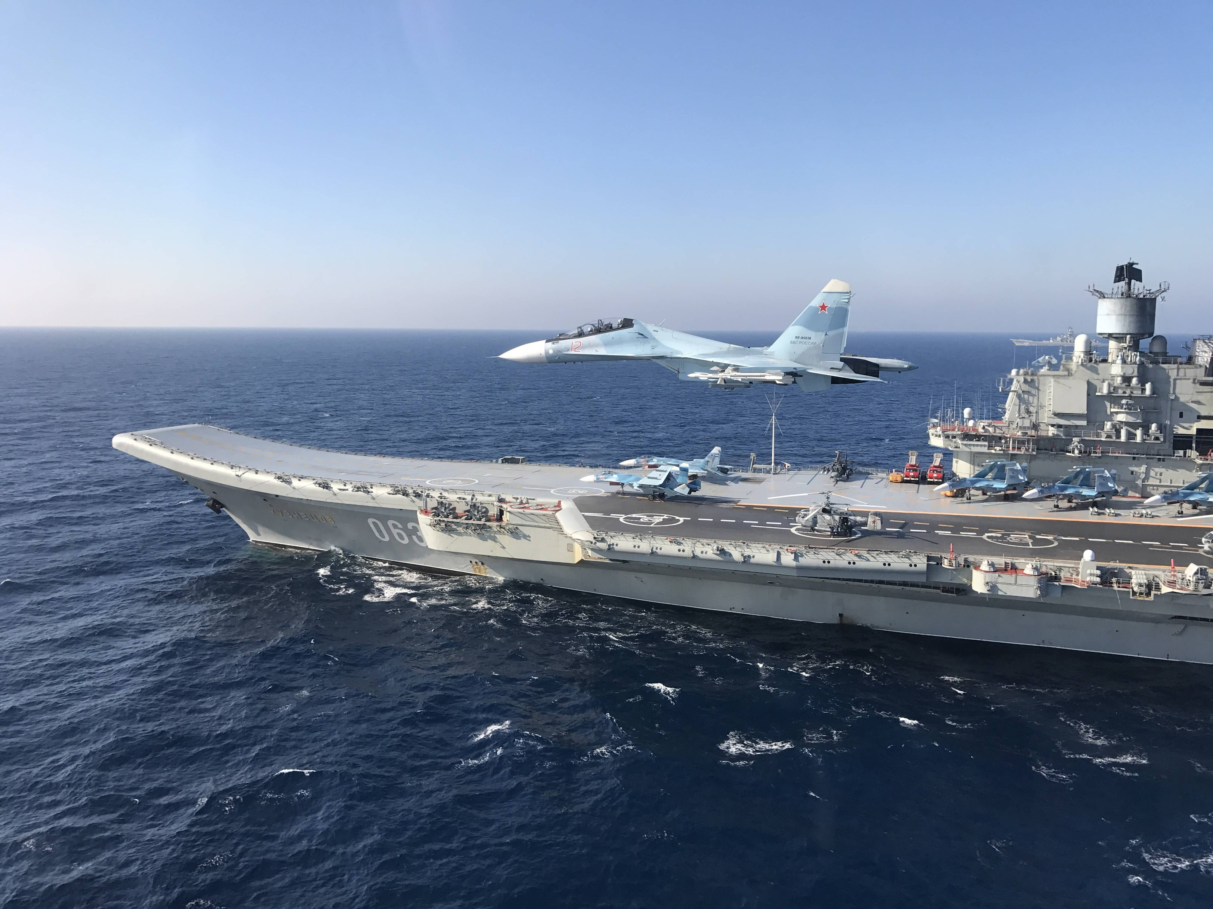 Royal Air Force Typhoons Monitor Russian Warships The Pyotr Veliky And Admiral Kuzsov Rear