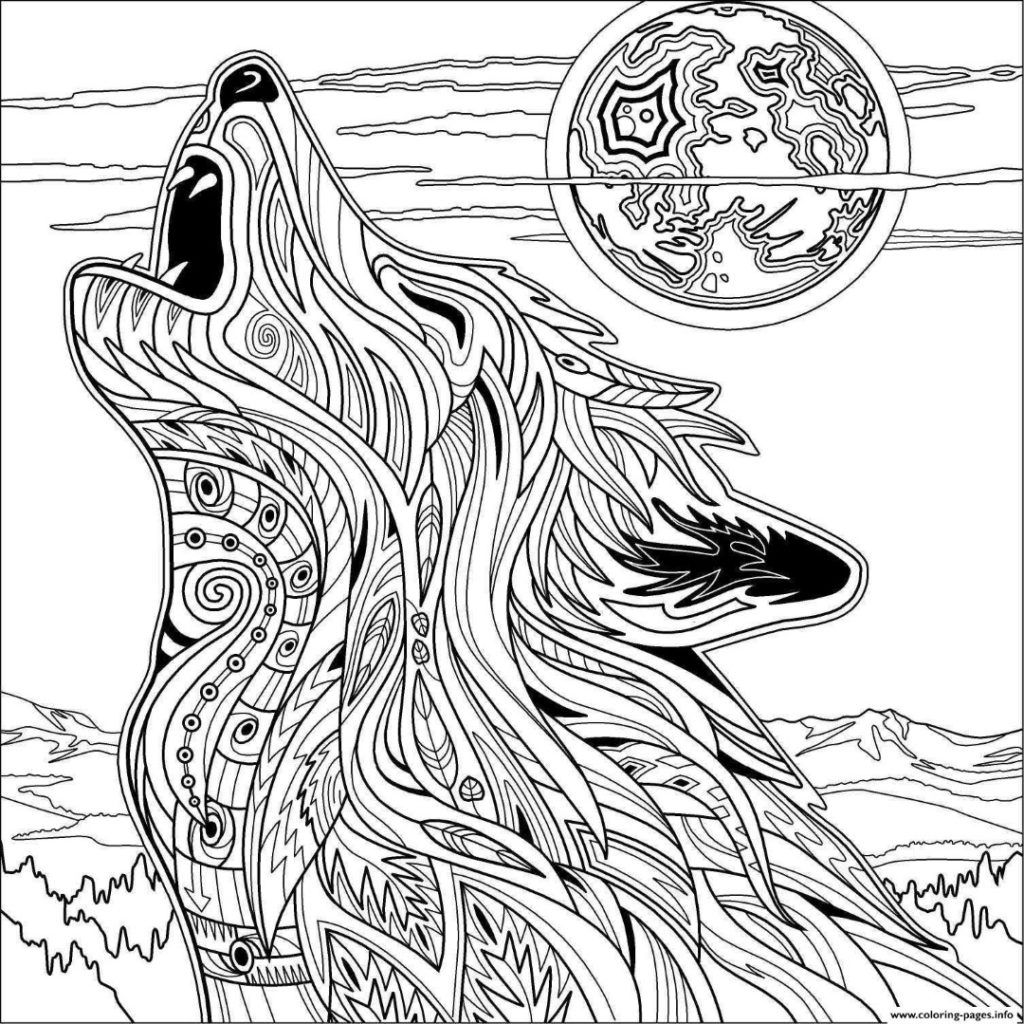 christmas wolf coloring pages | Wolf Coloring Pages | Free adult coloring pages, Mandala ...