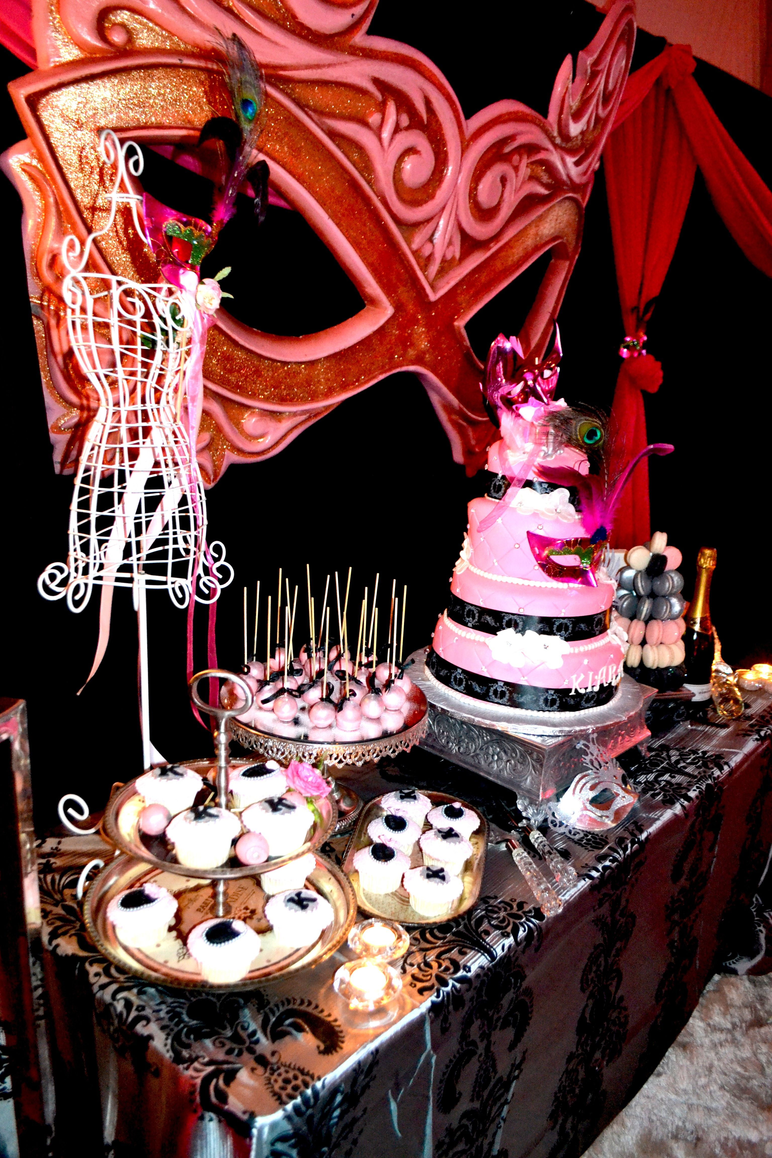 Masquerade themed sweet sixteen birthday party marge b for 16th party decoration ideas