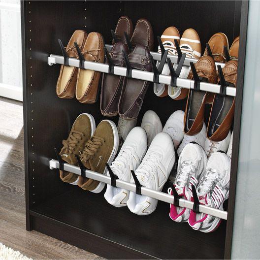 Range Chaussures Extensible Acier Gris L 100 X H 10 X P 5 Cm Rangement Chaussures Rangement Rangement Dressing