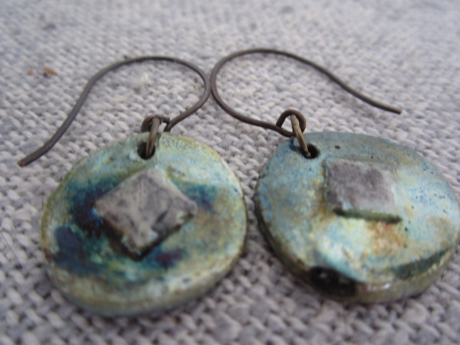Raku earrings rustic chic lightweight bluegreen gold and white