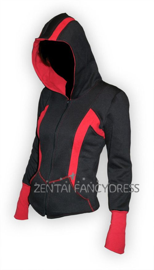 96679b1f Black And Red Assassins Creed III Conner Kenway Top Coat Black Hoodie  Cosplay Jacket