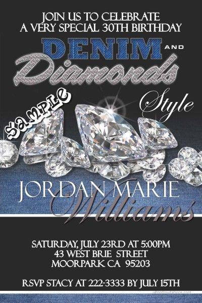 Denim And Diamonds Invitations Diamond Invitations Diamonds And Denim Party Diamond Party