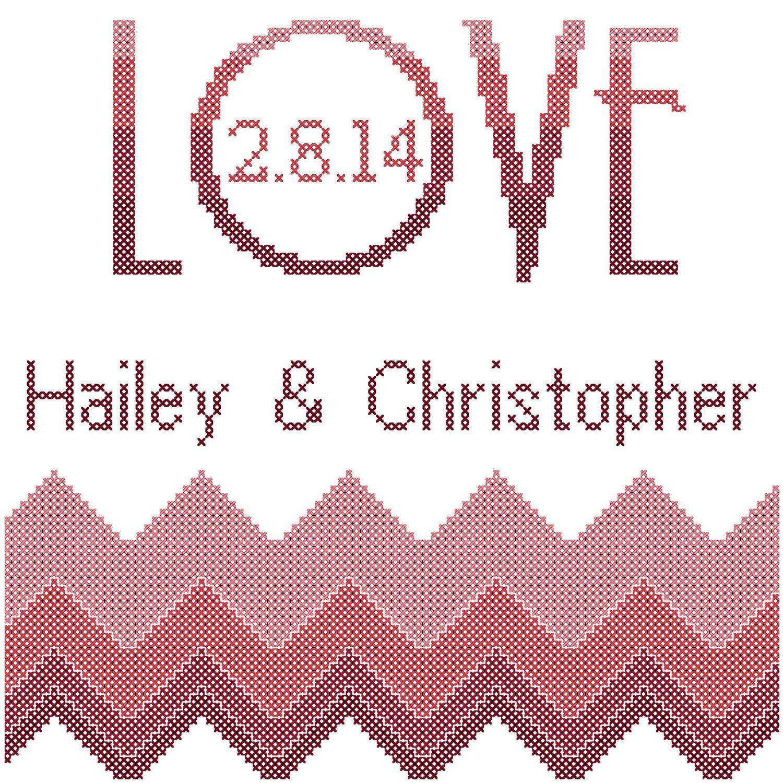 Love cross stitch pattern/wedding cross stitch pattern/chevron ...