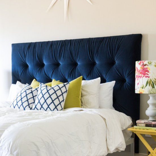 Beautiful Diy King Tufted Headboard Blue Velvet Casa
