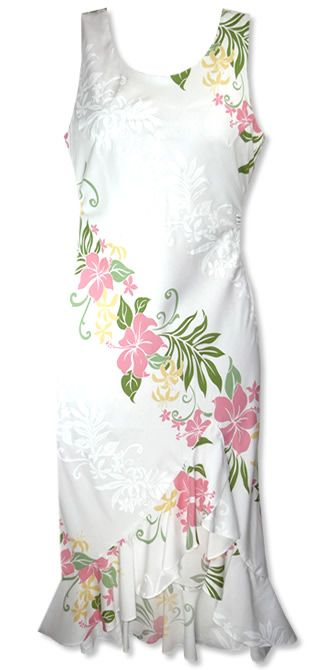 Nani Loa Luau White Hawaiian Dress- pretty! Maybe make this with my fabric from Hawaii only make more A line